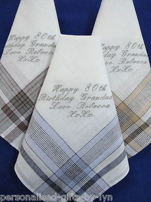 3 Personalised Mens Handkerchiefs Gift Boxed 100% cotton -