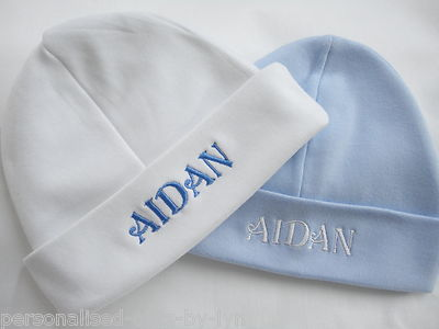 dd76ff74b4be0 Personalised Baby Hat. Available in White Pink or Blue