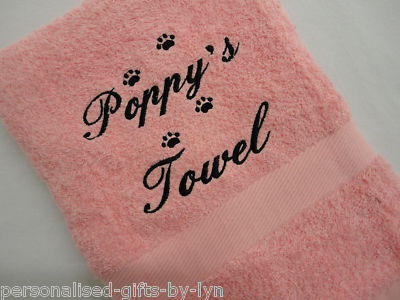PERSONALISED DOG TOWEL CHOICE OF PINK OR BLUE TOWELS