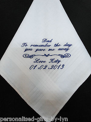 Personalised Handkerchief, Dad to remember the day you gave me away..