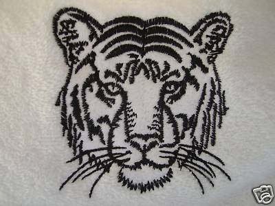PERSONALISED WHITE BATH TOWEL TIGER - TIGERS Design