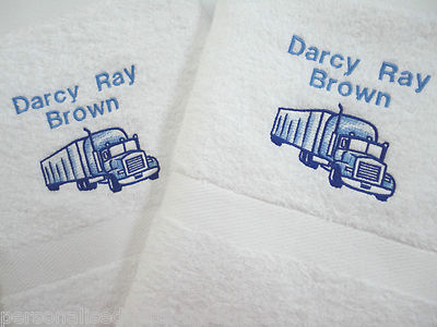 Pesonalised  Hand & Bath Towel Gift Set with Lorry Design